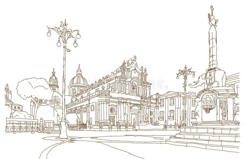 Schizzo del quadrato principale di Catania immagini stock libere da diritti