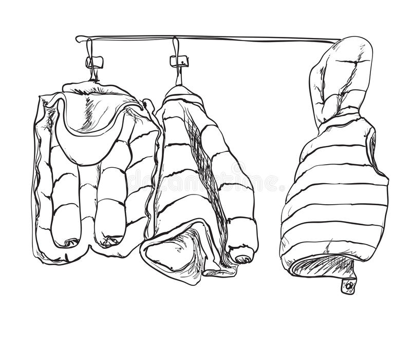 Schizzo del rivestimento del bambino di inverno Disegnato a mano royalty illustrazione gratis