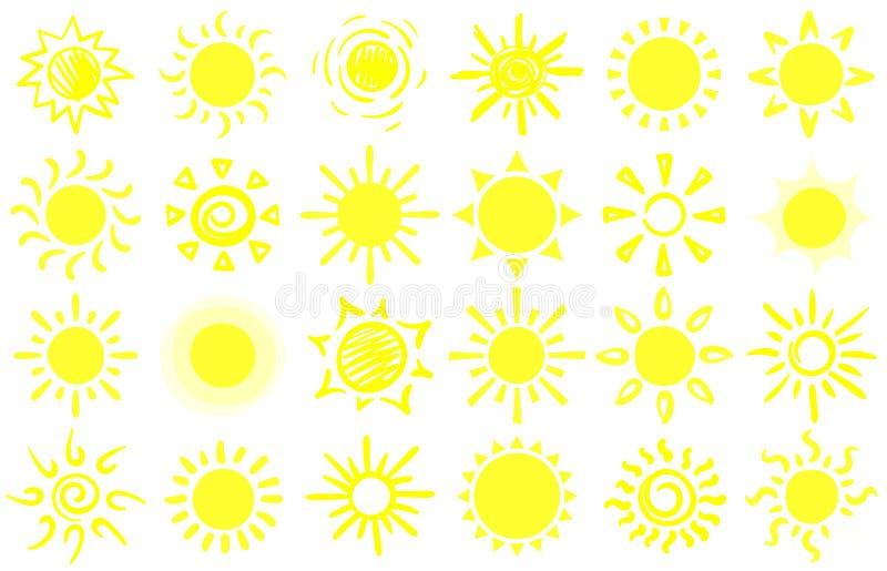 Schizzo del sole di estate Soli disegnati a mano, luce solare calda di alba ed insieme felice di vettore del fumetto del raggio d royalty illustrazione gratis