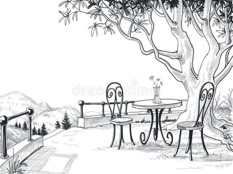 Schizzo del terrazzo del ristorante illustrazione di stock