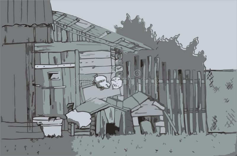 Schizzo del villaggio di vettore fotografia stock