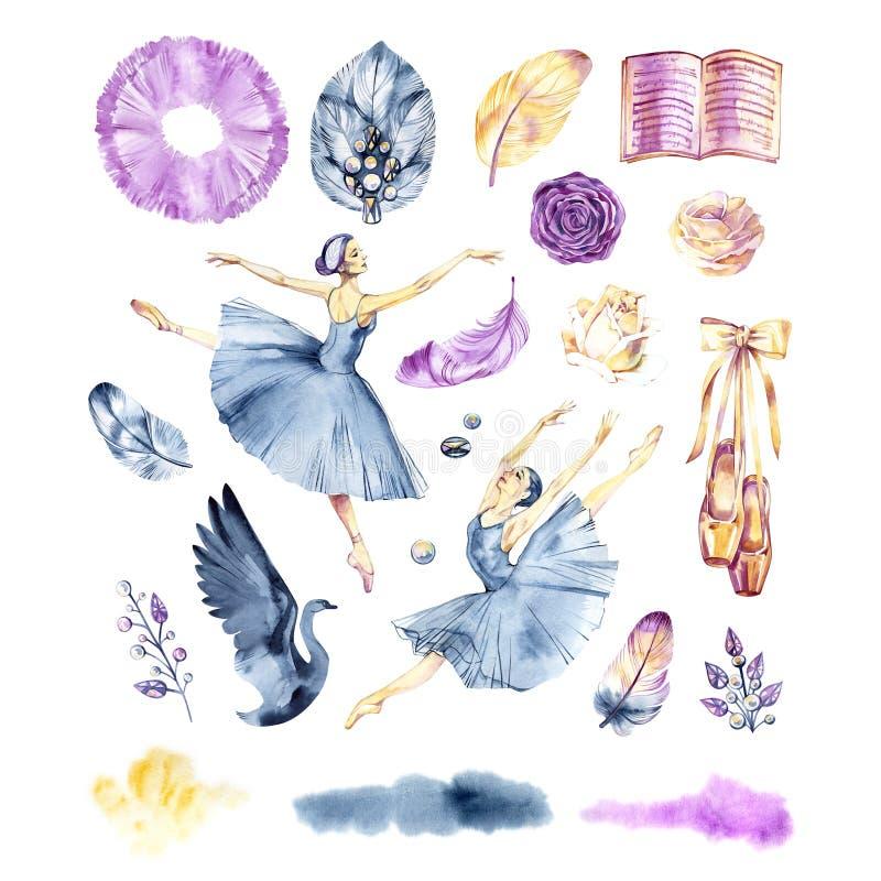 Schizzo dell'acquerello Accessori, pointes e gonna di balletto Elementi della stampa illustrazione vettoriale