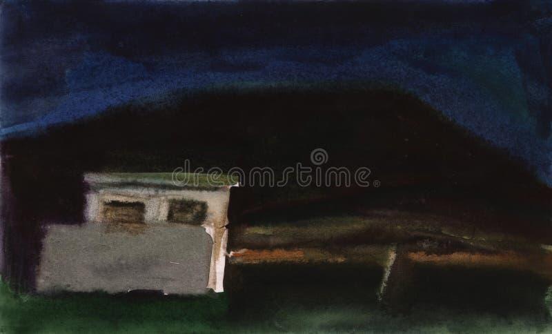 Schizzo dell'acquerello di notte Vecchia struttura in cemento armato sui precedenti del paesaggio di notte illustrazione vettoriale