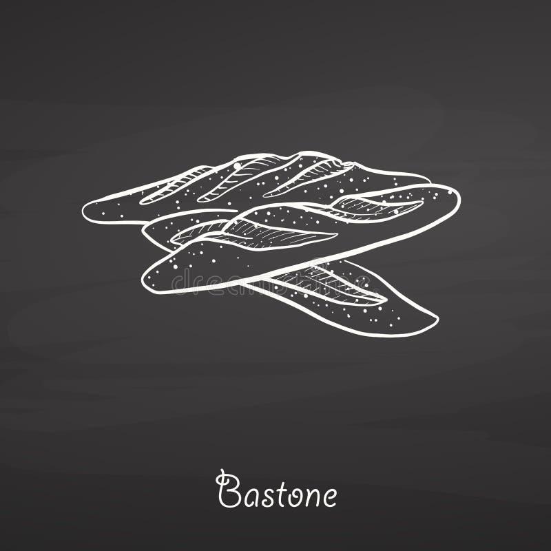 Schizzo dell'alimento di Bastone sulla lavagna illustrazione di stock