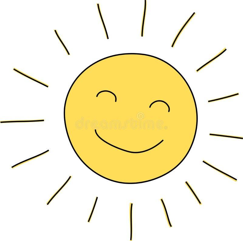 Schizzo dell'icona del sole di sorriso illustrazione vettoriale