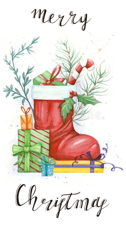 Schizzo dell'illustrazione con ed oggetto di Natale royalty illustrazione gratis