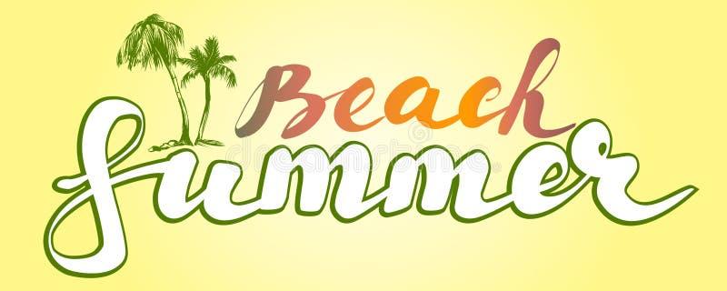 Schizzo dell'illustrazione di vettore di simbolo di logo della spiaggia di estate illustrazione di stock