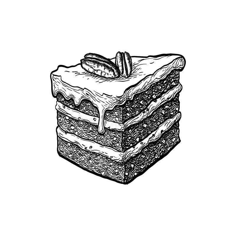 Schizzo dell'inchiostro del dolce alle carote illustrazione vettoriale