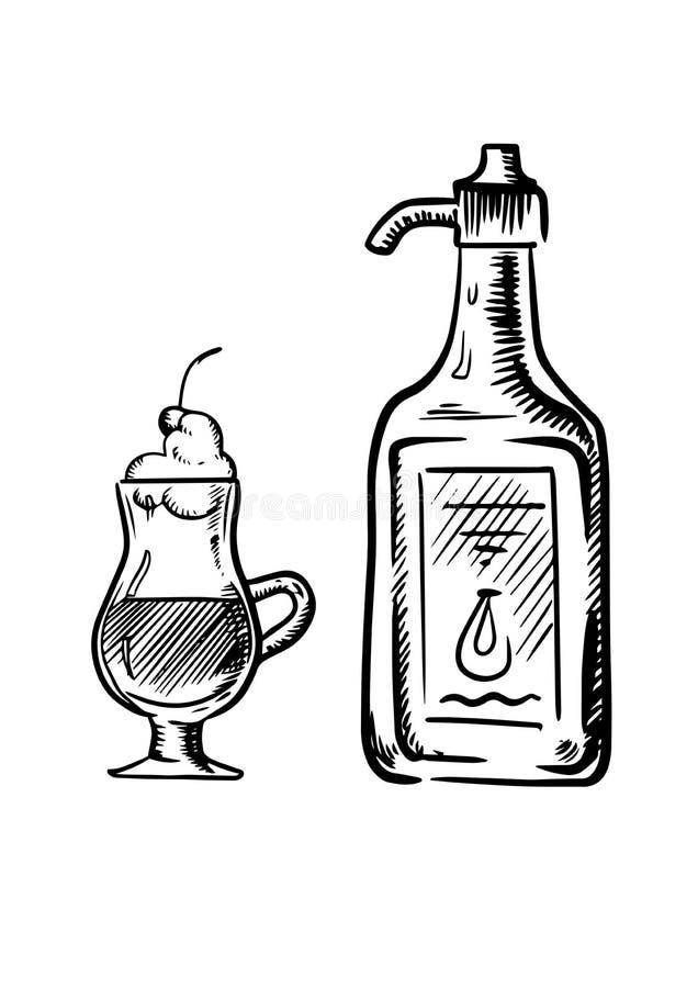 Schizzo dell'irish coffee con la bottiglia di crema royalty illustrazione gratis