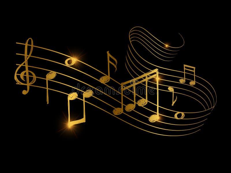 Schizzo dell'onda sonora musicale dorata con le note di musica royalty illustrazione gratis