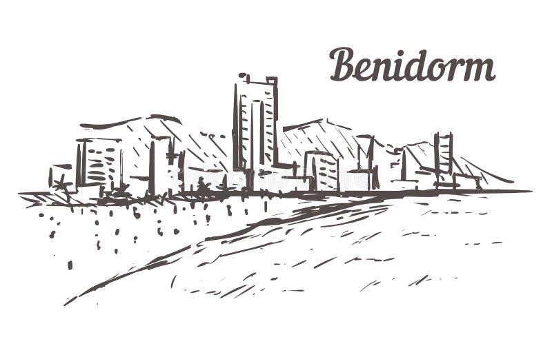 Schizzo dell'orizzonte di Benidorm Illustrazione disegnata a mano di Benidorm, Spagna royalty illustrazione gratis