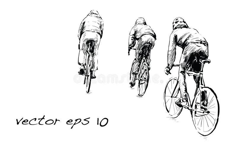Schizzo della bicicletta fissa di guida dell'ingranaggio del ciclista sulla via, illustrat royalty illustrazione gratis