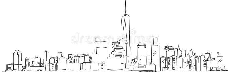 Download Schizzo Della Carta Bianca Di New York Manhattan Illustrazione Vettoriale - Illustrazione di abbozzo, manhattan: 117980389