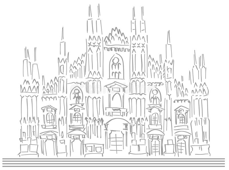 Schizzo della cattedrale di Milano illustrazione vettoriale
