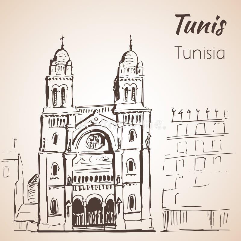 Schizzo della cattedrale di Tunisi royalty illustrazione gratis