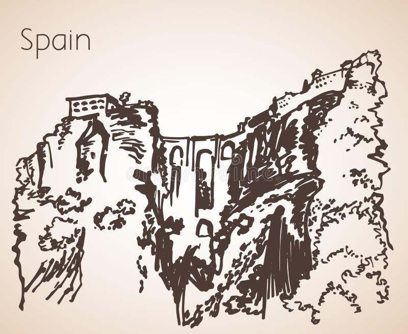 Schizzo della città Siviglia - nuovo ponte della spagna Puente Nuevo royalty illustrazione gratis