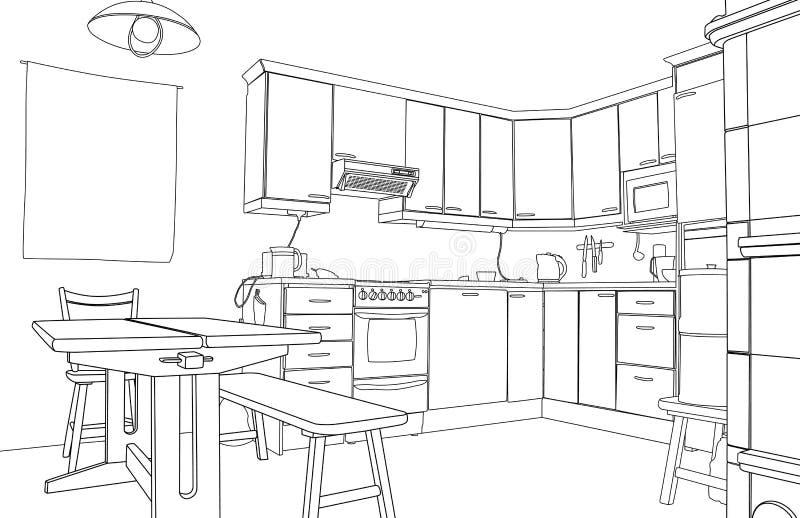 Schizzo della cucina illustrazione vettoriale