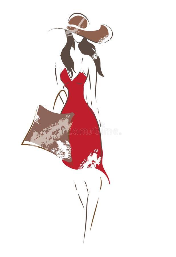 Schizzo della donna di modo illustrazione di stock