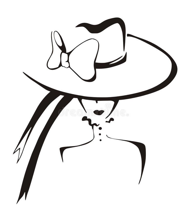 Schizzo della donna elegante in cappello illustrazione vettoriale