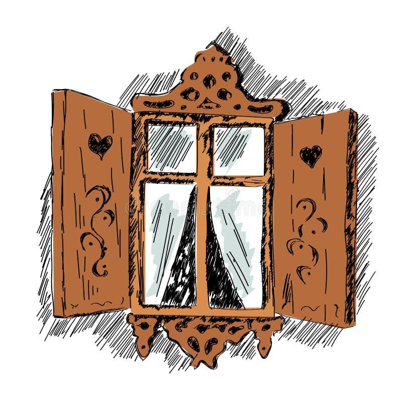 Schizzo della finestra decorativa di legno scolpita della for Schizzo di piani di casa gratuiti
