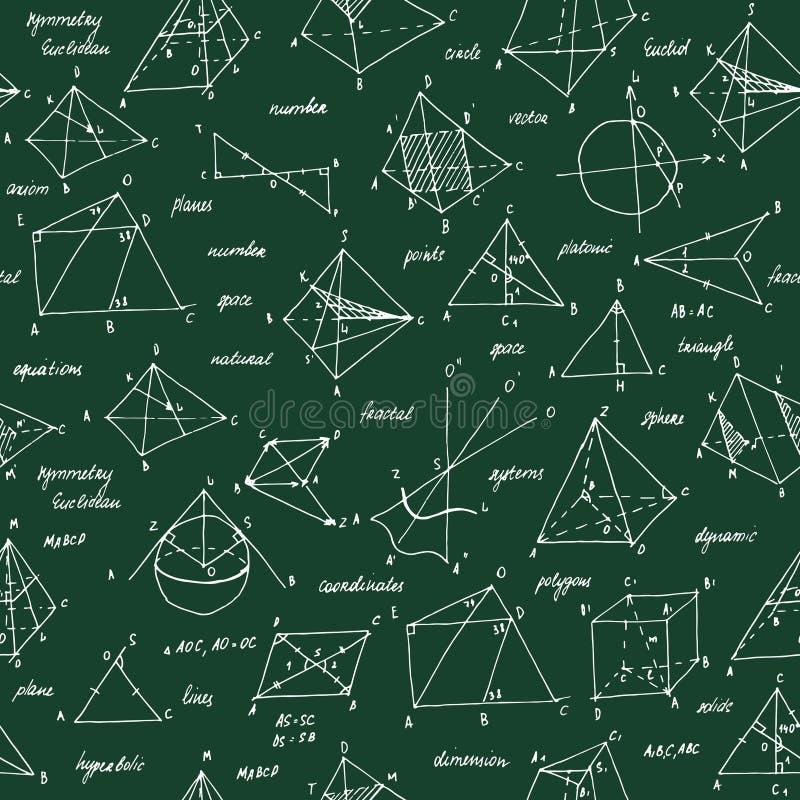 Schizzo della geometria Struttura senza giunte Lavagna della scuola con gli schizzi e gli elementi geometrici fotografie stock