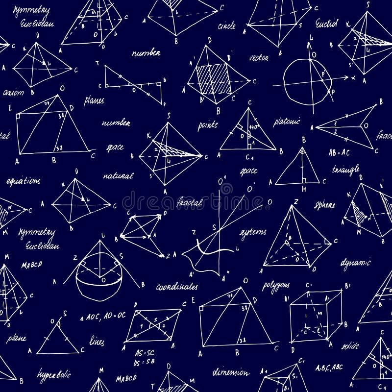 Schizzo della geometria Struttura senza giunte Lavagna della scuola con gli schizzi e gli elementi geometrici fotografia stock