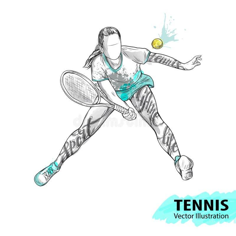 Schizzo della mano del tennis americano Illustrazione di sport di vettore Siluetta dell'acquerello dell'atleta con tematico illustrazione di stock