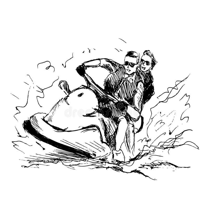 Schizzo della mano sui cavalieri di un acquascooter royalty illustrazione gratis