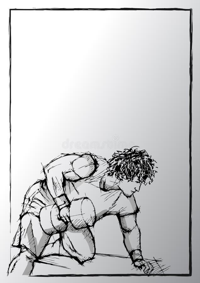 Schizzo della matita del bodybuilding royalty illustrazione gratis
