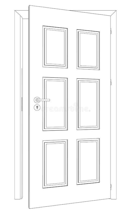 Schizzo della porta aperta della cavo-struttura Vettore royalty illustrazione gratis
