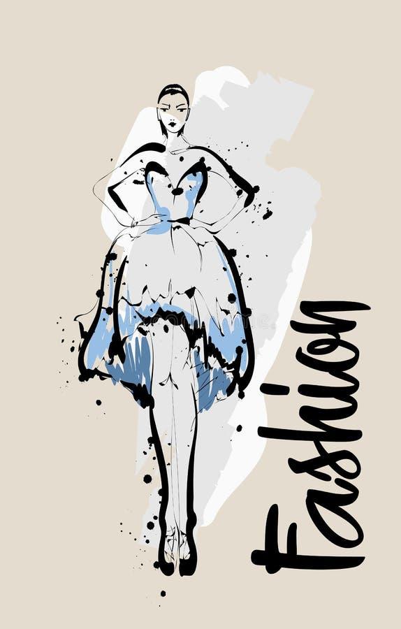 Schizzo della ragazza di modo Illustrazione di modo Modello di moda di disegno royalty illustrazione gratis