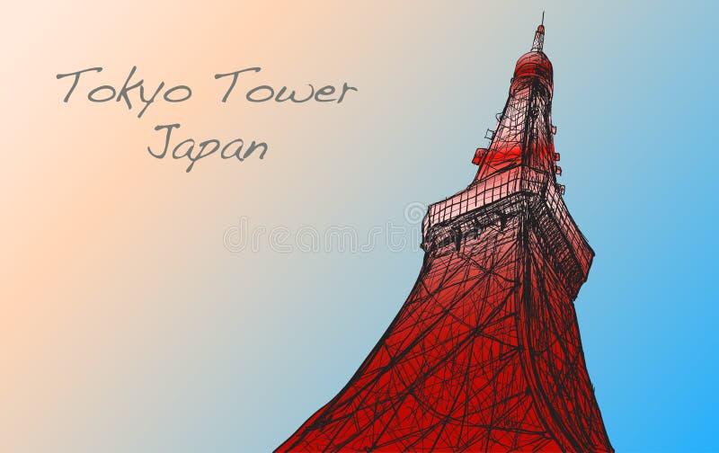 Schizzo della torre di Tokyo nel Giappone, tiraggio di Voctor della carta bianca royalty illustrazione gratis