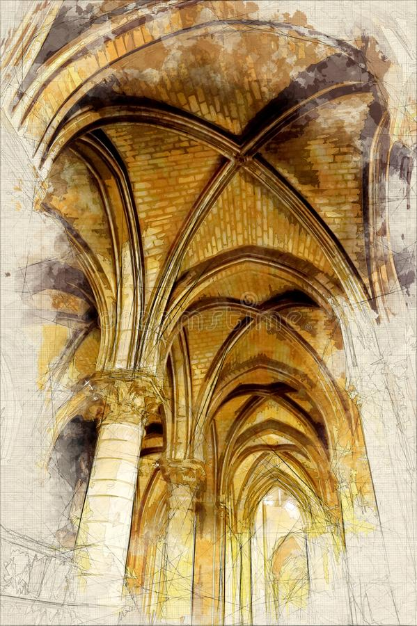 Schizzo della volta di Notre Dame de Paris royalty illustrazione gratis