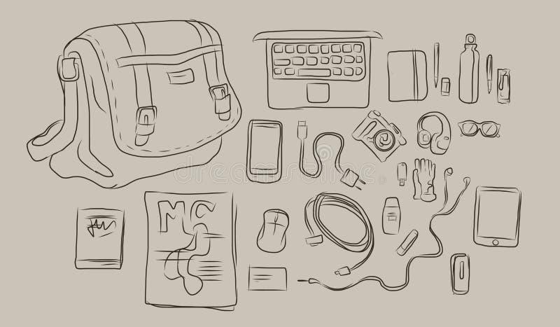 Schizzo delle cose dentro la borsa, dal computer portatile alla cuffia, libro, rivista tutta nel vettore illustrazione vettoriale