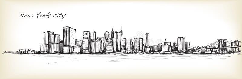 Schizzo dello scape della città che assorbe New York City, illustrazione di vettore royalty illustrazione gratis
