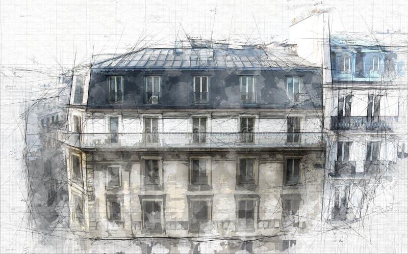 Schizzo di architettura di Parigi royalty illustrazione gratis