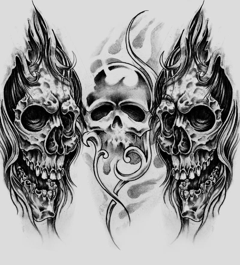 Schizzo di arte del tatuaggio, crani fotografie stock