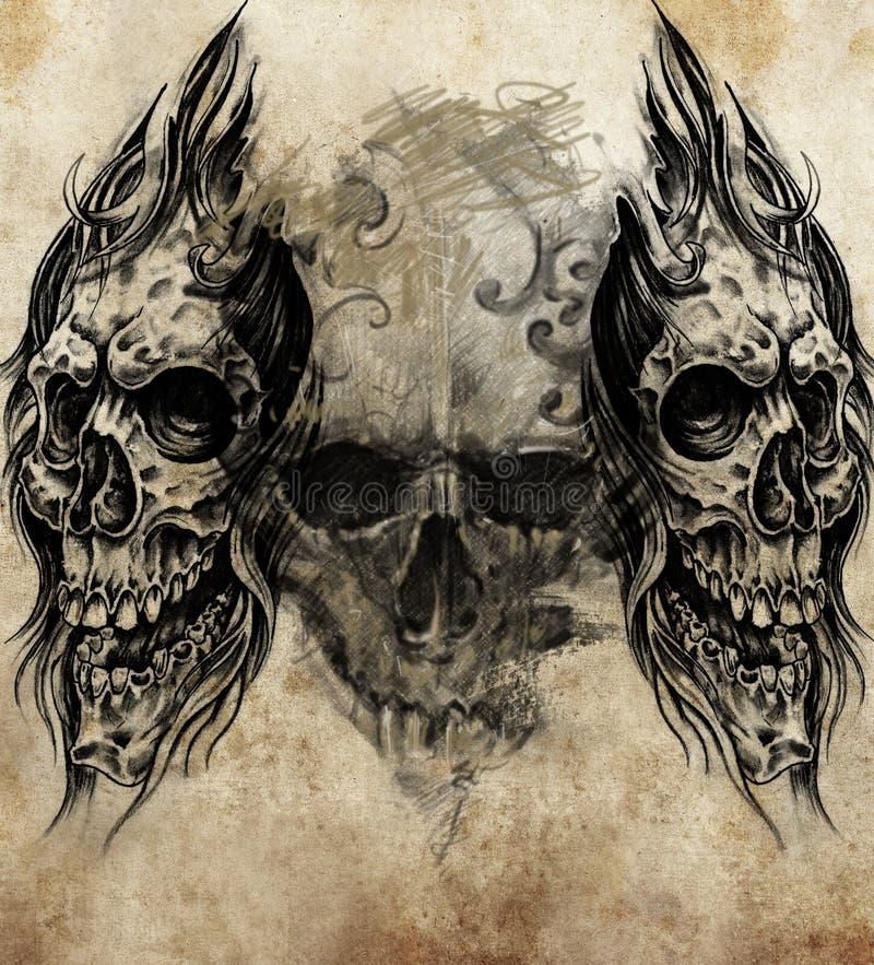 Schizzo di arte del tatuaggio, crani illustrazione di stock