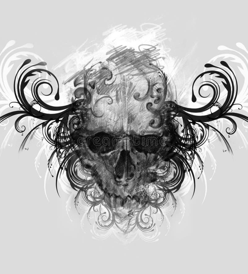 Schizzo di arte del tatuaggio, cranio con i flourishes tribali fotografia stock