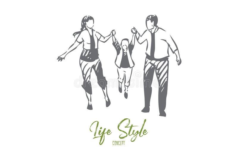Schizzo di camminata di concetto della famiglia Illustrazione isolata di vettore royalty illustrazione gratis