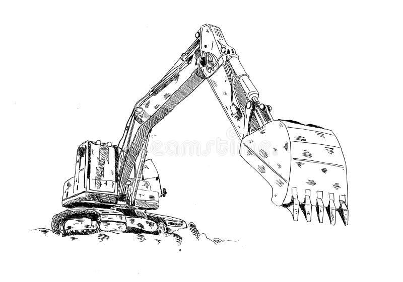 Schizzo di divertimento del disegno dell'opera d'arte dell'illustrazione dell'escavatore illustrazione vettoriale