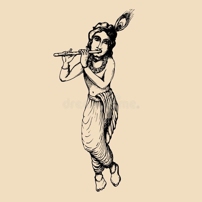 Schizzo di giovane Krishna Fondo felice di janmashtami Vector l'illustrazione tirata per la cartolina d'auguri, il manifesto fest illustrazione vettoriale