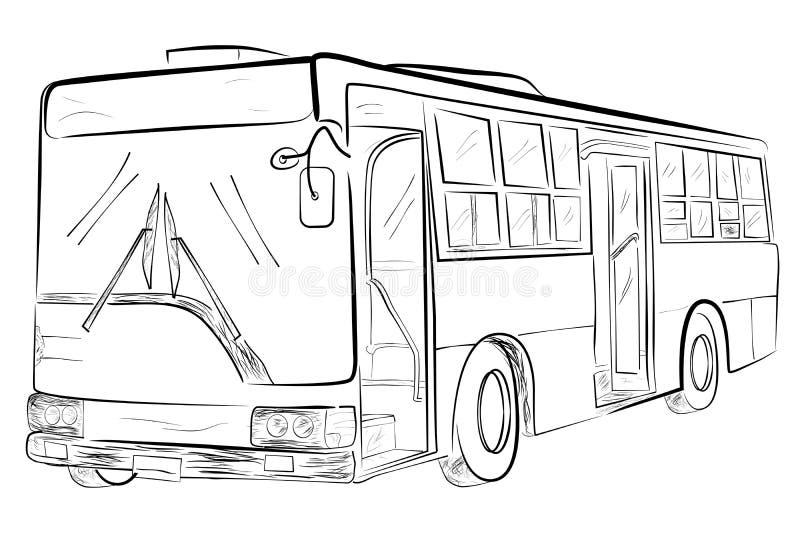 Schizzo di grande bus classico, prospettiva di angolo basso illustrazione vettoriale