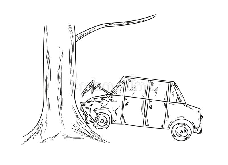 Schizzo di incidente stradale illustrazione vettoriale