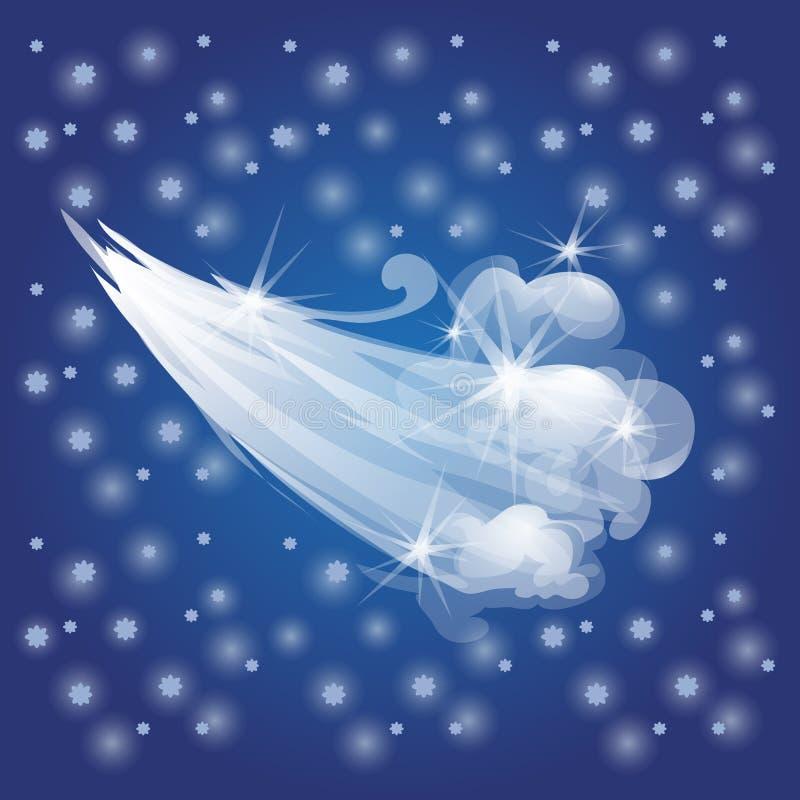 Schizzo di inverno con respiro un vento freddo Campione di cartolina d'auguri del nuovo anno e di Natale, manifesto festivo o par illustrazione di stock