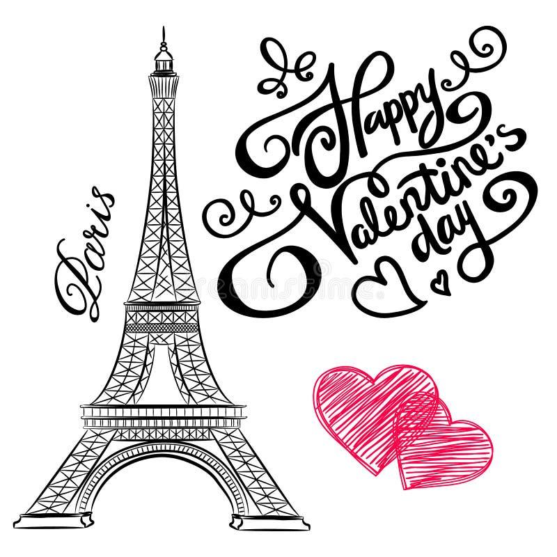 Schizzo di Parigi, torre Eiffel con i cuori illustrazione vettoriale
