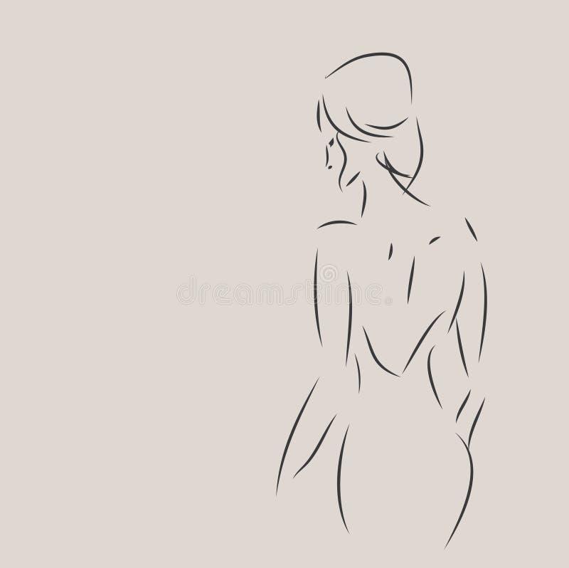 Schizzo di progettazione di modo di una donna illustrazione vettoriale