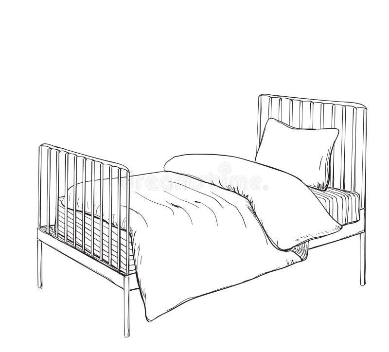 Schizzo di stile di scarabocchio del letto di cuccetta dei bambini illustrazione vettoriale