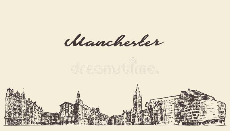 Schizzo di tiraggio dell'illustrazione di vettore di Manchester Inghilterra illustrazione di stock
