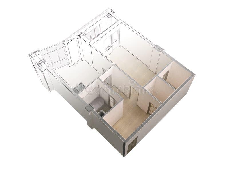 Schizzo di un appartamento moderno che contrappone con una rappresentazione realistica 3d, vista superiore del progetto, isolata royalty illustrazione gratis